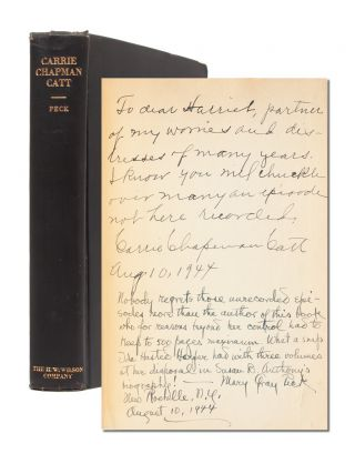 Image 1 of 7 for Carrie Chapman Catt, A Biography (First Edition Presentation Copy