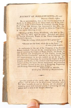 The Writings of Miss Fanny Woodbury, Who Died at Beverly Nov 15, 1814 Aged 23 Years