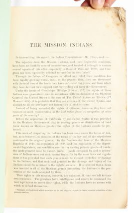 Report of Mrs. Helen Hunt Jackson and Abbot Kinney on the Mission Indians in 1883. Abbreviated