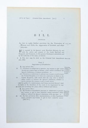 A Bill Intituled an Act to Make Further Provision for the Protection of Women and Girls, the Suppression of Brothels, and Other Purposes.